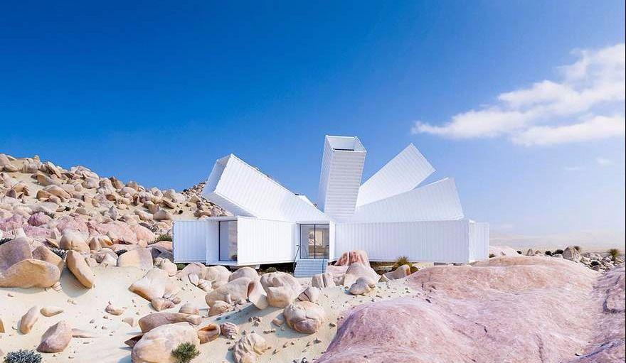 Une maison faite de conteneurs, dans le désert