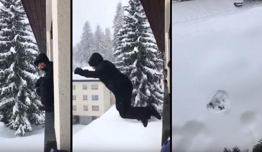 Sauter du 4e dans la neige.
