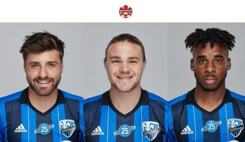 Petrasso, Piette et Edwards avec l'équipe canadienne